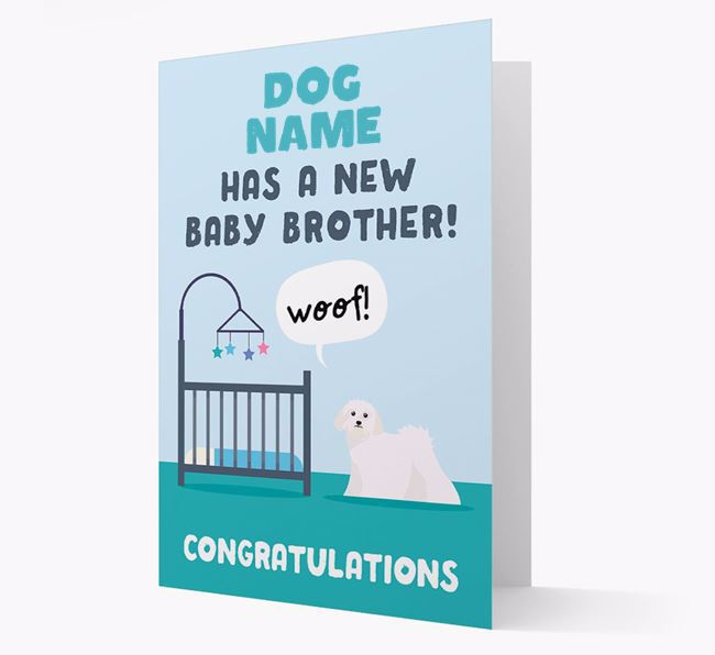 'New Baby Brother' - Personalised Lhasa Apso Card