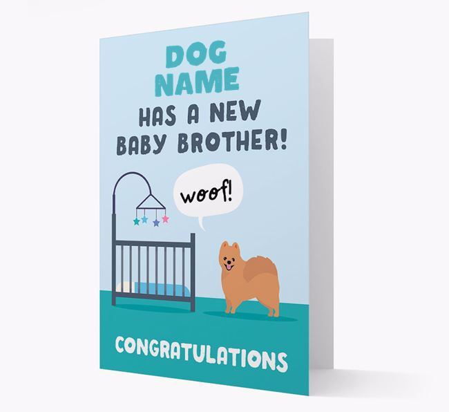 'New Baby Brother' - Personalised Pomeranian Card