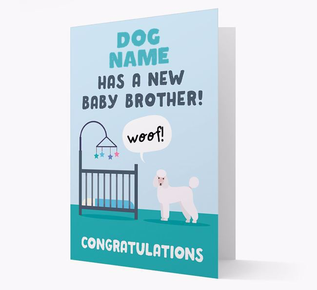 'New Baby Brother' - Personalised Poodle Card