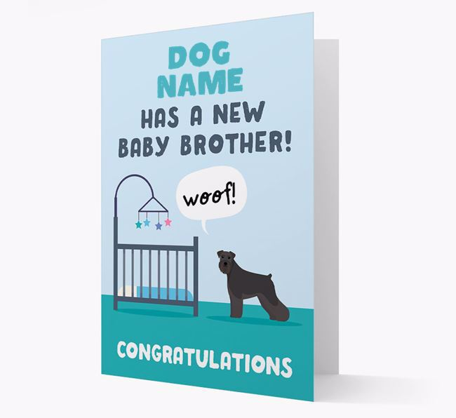 'New Baby Brother' - Personalised Schnauzer Card