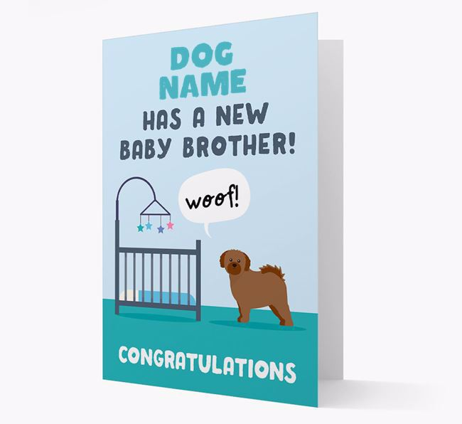 'New Baby Brother' - Personalised Shih Tzu Card