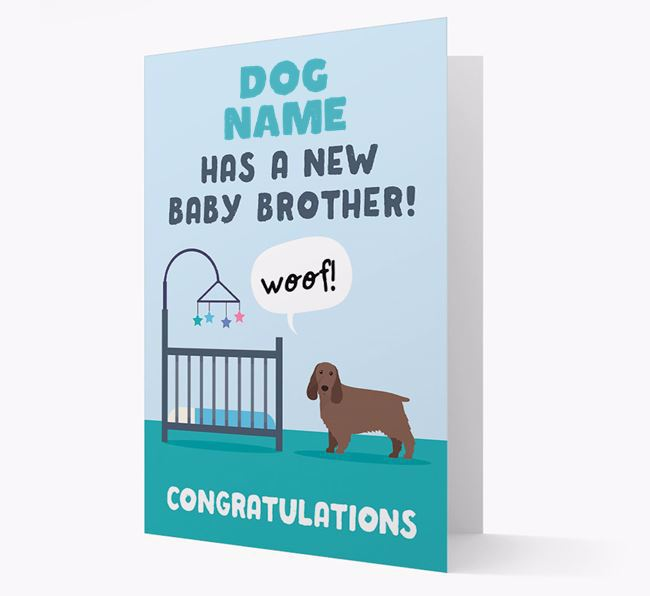 'New Baby Brother' - Personalised Springer Spaniel Card