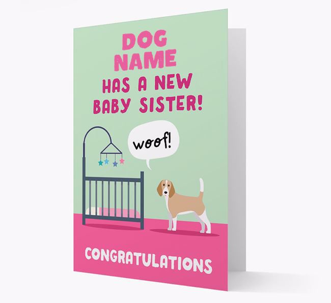 'New Baby Sister' - Personalised Beagle Card