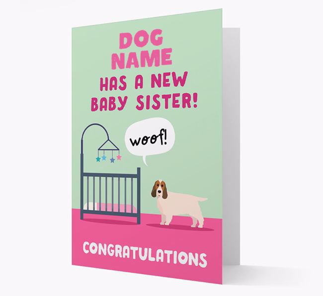 'New Baby Sister' - Personalized Cocker Spaniel Card