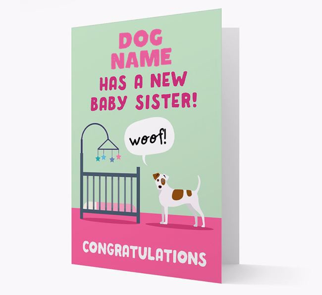 'New Baby Sister' - Personalized Dog Card