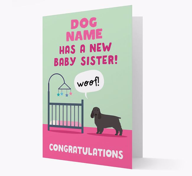 'New Baby Sister' - Personalised Springer Spaniel Card