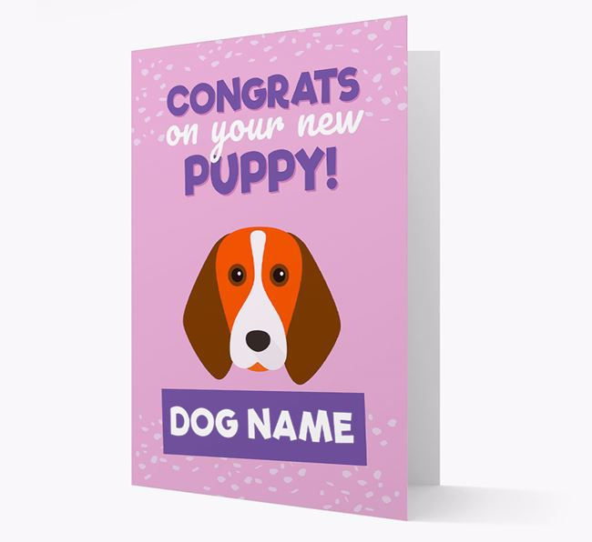 'Congrats On Your New Puppy!' - Personalised Beagle Card