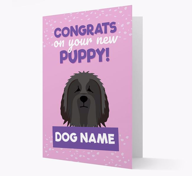 'Congrats On Your New Puppy!' - Personalized Bearded Collie Card
