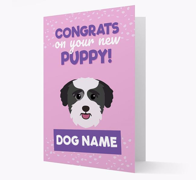 'Congrats On Your New Puppy!' - Personalized Bichon Yorkie Card