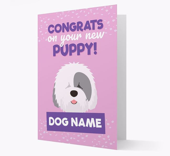 'Congrats On Your New Puppy!' - Personalized Old English Sheepdog Card