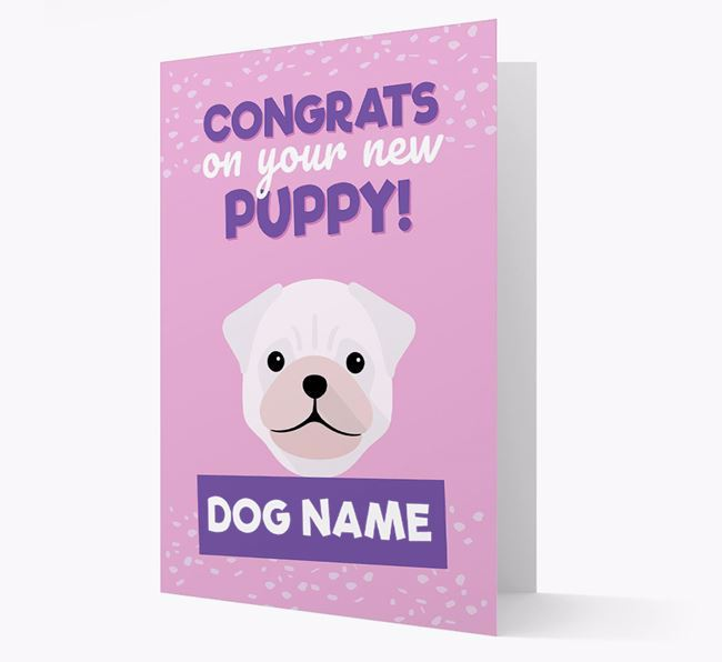'Congrats On Your New Puppy!' - Personalised Pug Card