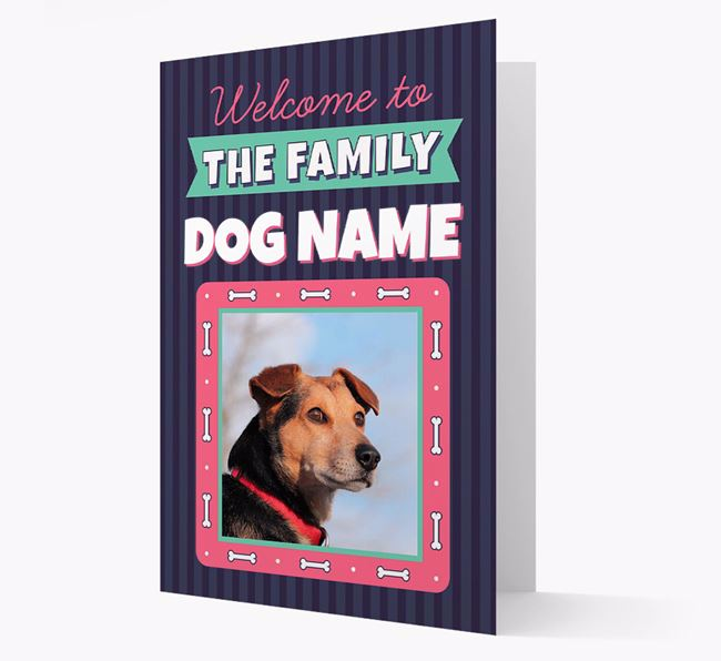 'Welcome To The Family' - Personalized Blue Lacy Card