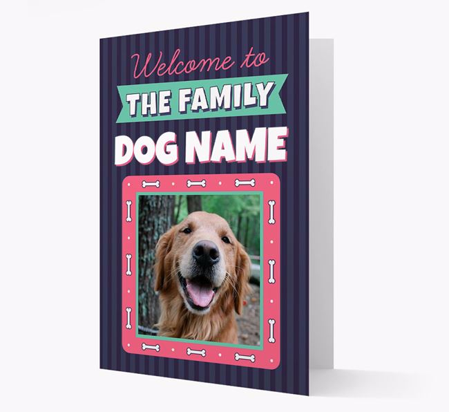 'Welcome To The Family' - Personalized Golden Retriever Card