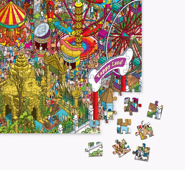 'Yappy Land' Jigsaw Puzzle Featuring your Old English Sheepdog