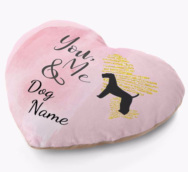 Personalised Soft Touch Heart Cushion 'You, Me & Your Dog!'