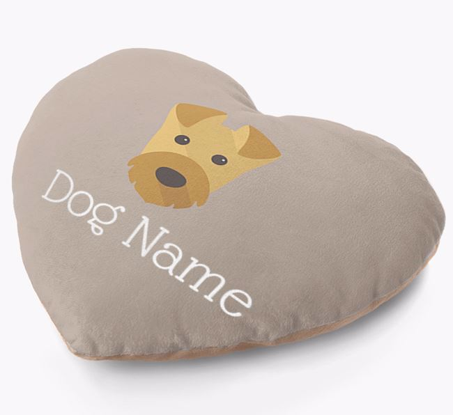 Personalised Soft Touch Heart Cushion with Airedale Yappicon