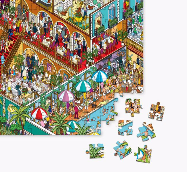 'Paw Seasons Hotel' Jigsaw Puzzle Featuring your Staffy Jack
