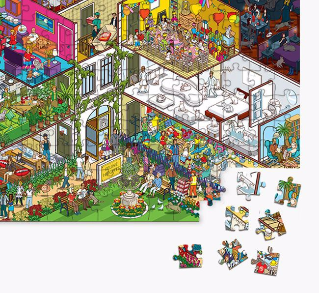 'Feline Heights' Jigsaw Puzzle Featuring your Domestic Shorthair