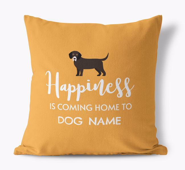 'Happiness Is...' - Personalised Bassador Canvas Cushion