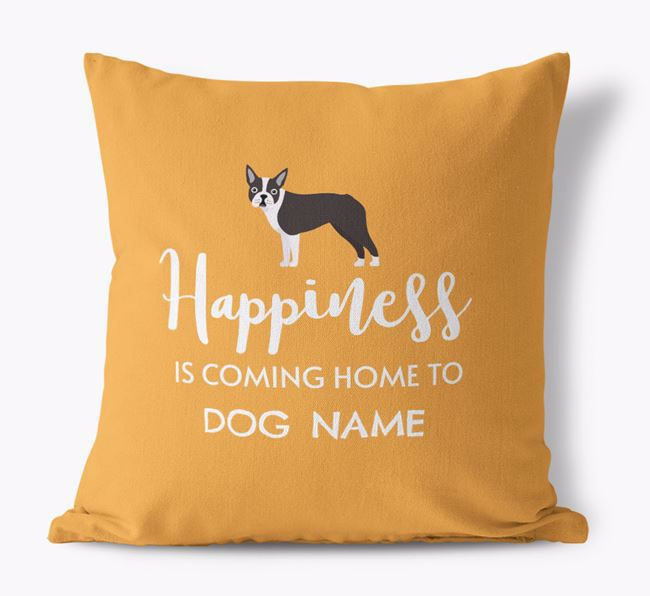 'Happiness Is...' - Personalized Dog Canvas Pillow