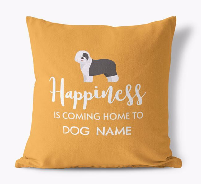 'Happiness Is...' - Personalized Old English Sheepdog Canvas Pillow