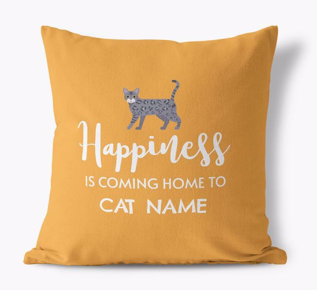 'Happiness Is ...' - Personalised Bengal Canvas Cushion