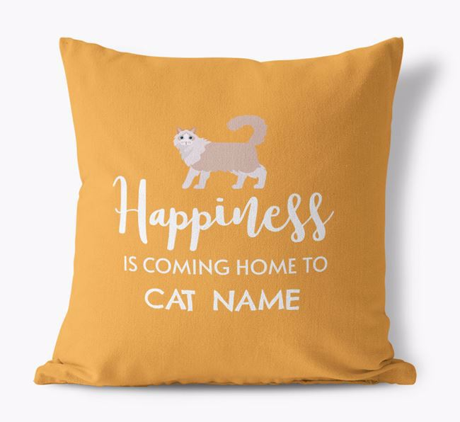 'Happiness Is...' - Personalized Cat Canvas Pillow