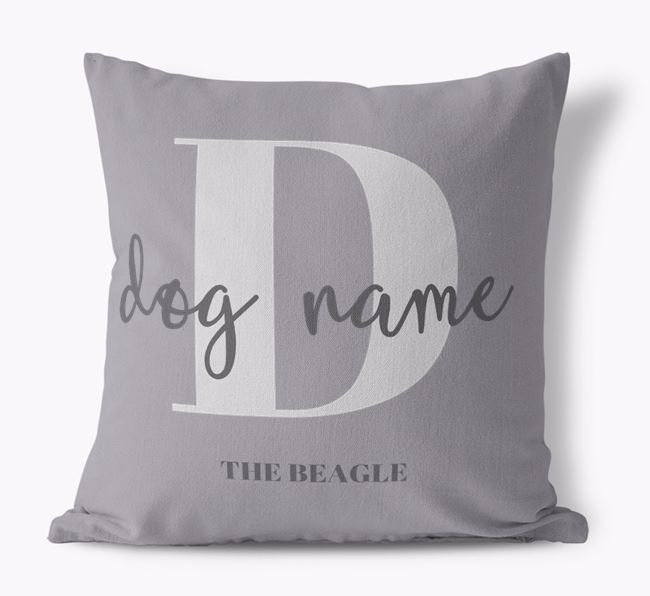 'Your Dog's Name and Initial' - Personalised Beagle Canvas Cushion