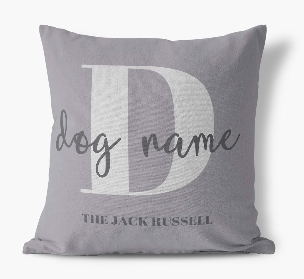 '{dogsName} Name' - Personalized Dog Canvas Pillow front view featuring your dog