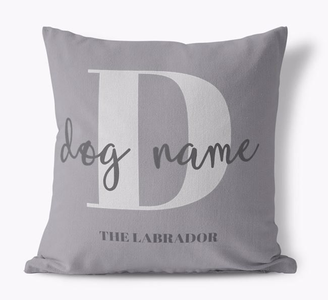 'Your Dog's Name and Initial' - Personalised Labrador Retriever Canvas Cushion