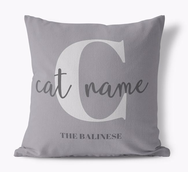 'Your Cat's Name and Initial' - Personalized Balinese Canvas Pillow