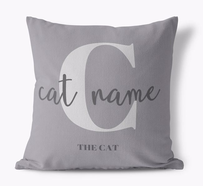 'Your Cat's Name and Initial' - Personalized Cat Canvas Pillow