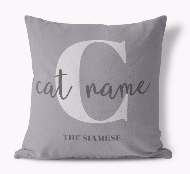 'Your Cat's Name and Initial' - Personalized Siamese Canvas Pillow