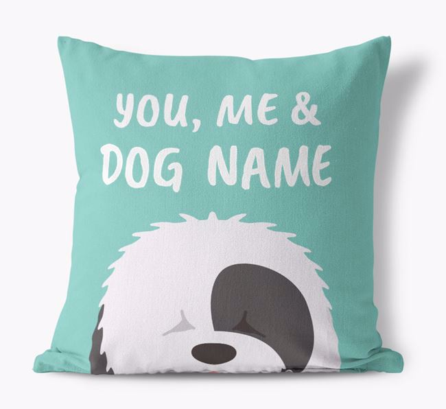 'You, Me & Your Dog' - Personalized Old English Sheepdog Canvas Pillow