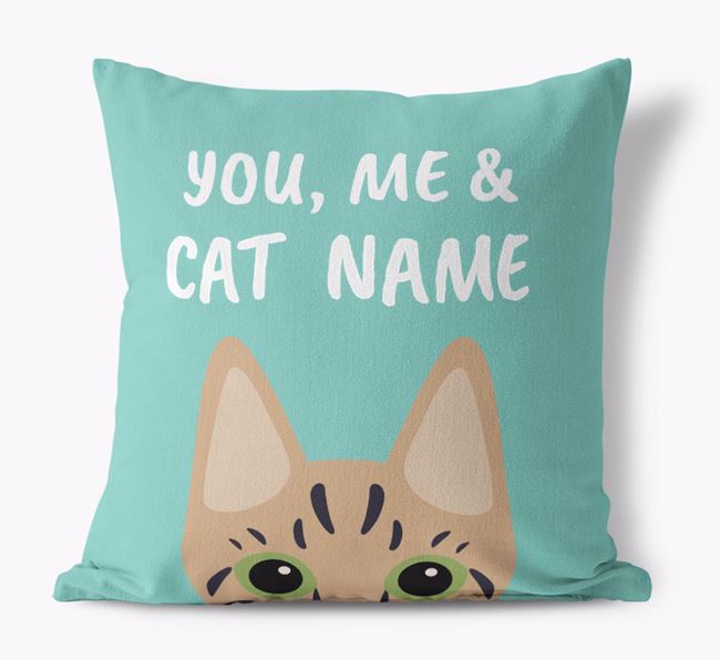 'You, Me & Your Cat' - Personalized Ashera Canvas Pillow