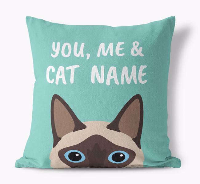 'You, Me & Your Cat' - Personalized Balinese Canvas Pillow