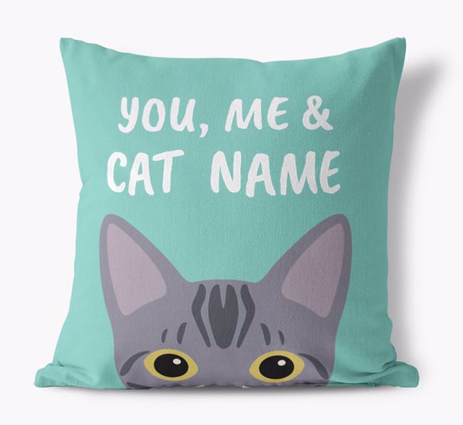 'You, Me & Your Cat' - Personalized Bengal Canvas Pillow