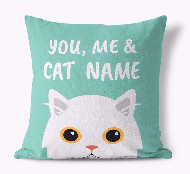 'You, Me & Your Cat' - Personalized Cat Canvas Pillow