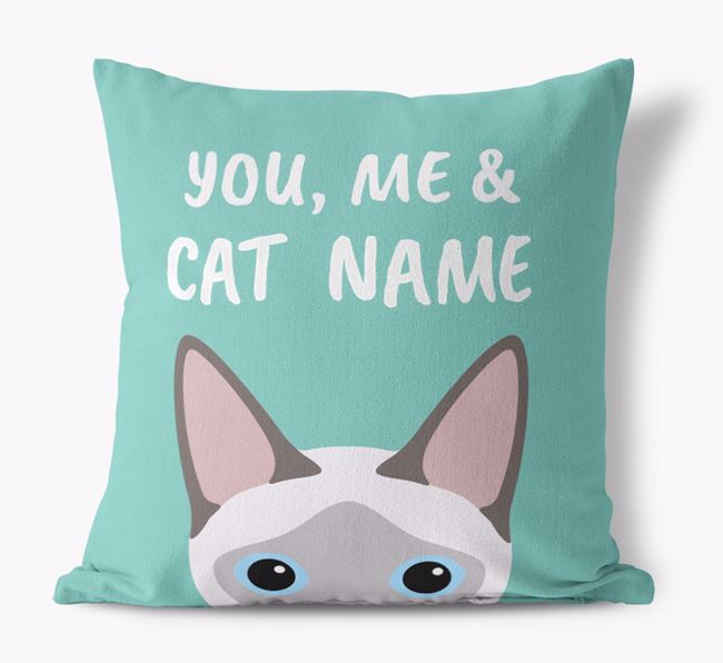 'You, Me & Your Cat' - Personalized Siamese Canvas Pillow