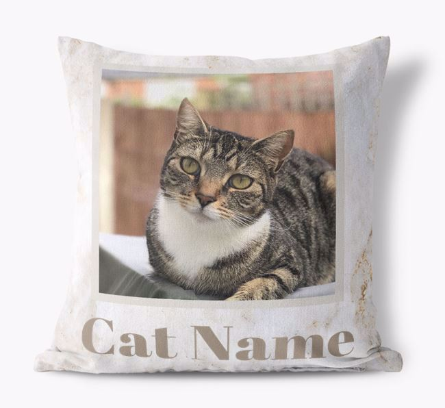 'Marble Pattern' - Personalized Cat Photo Upload Pillow