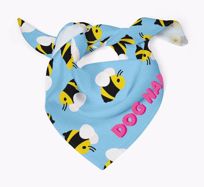 'Bee Pattern' - Personalised Black and Tan Coonhound Bandana