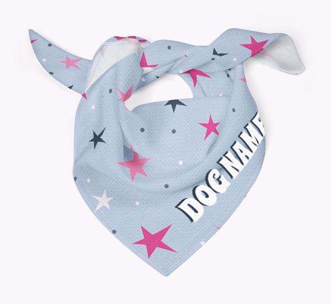 Star and Spot Pattern - Personalised Curly Coated Retriever Bandana