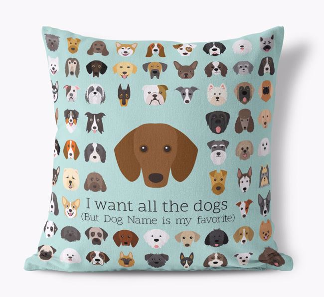 'I want all the Dogs' - Personalized Dachshund Canvas Cushion
