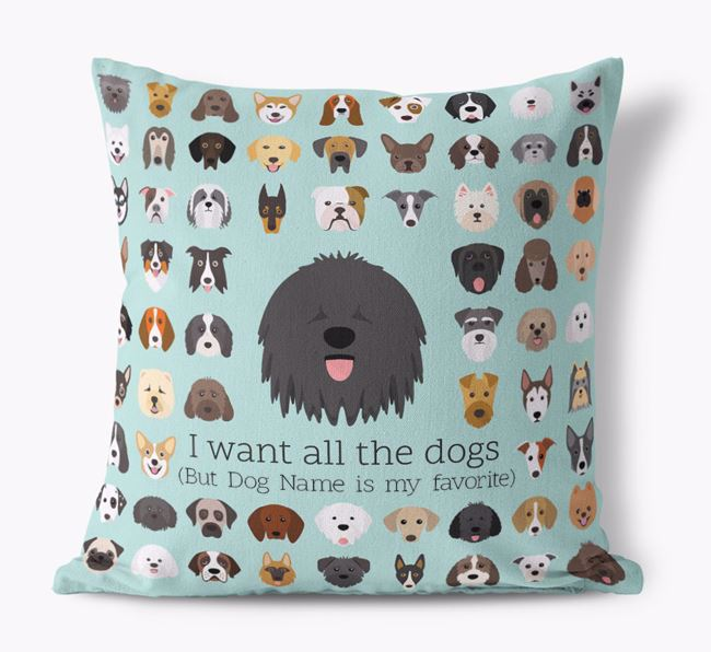 'I want all the Dogs' - Personalized Hungarian Puli Canvas Cushion