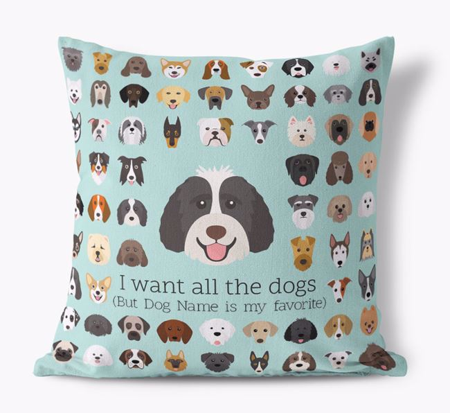 'I want all the Dogs' - Personalized Labradoodle Canvas Cushion