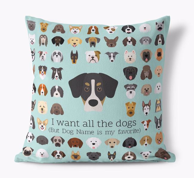 'I want all the Dogs' - Personalized Siberian Cocker Canvas Cushion