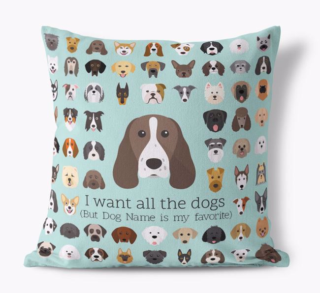 'I want all the Dogs' - Personalized Welsh Springer Spaniel Canvas Cushion