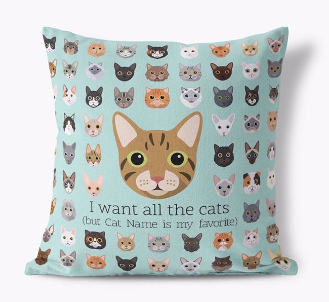'I want all the Cats' - Personalized Cat Canvas Pillow