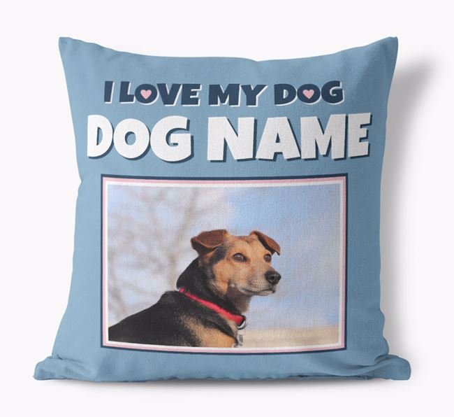 'I Love My Dog' - Personalized Dog Canvas Pillow