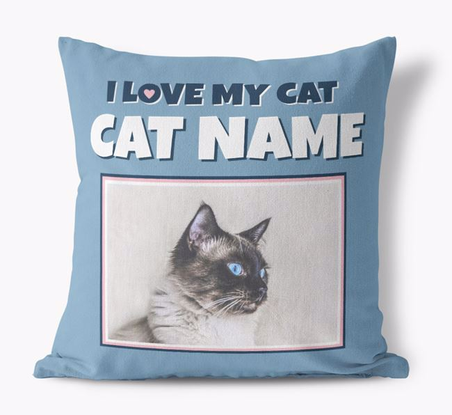 'I Love My Cat' - Personalized Balinese Canvas Pillow